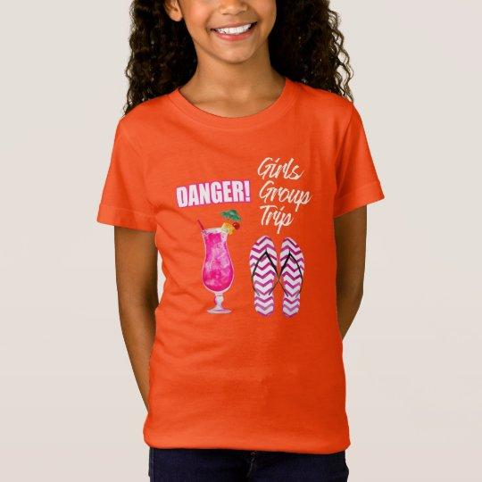 Lustiges Urlaub T-Shirt: Danger! Girls Group Trip T-Shirt