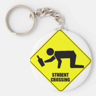 Lustiges Verkehrsschild - betrunkene Studenten-Übe Standard Runder Schlüsselanhänger
