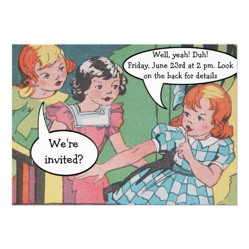 Lustiges Vintages Retro Cartoon-Comic-Party Ankündigungskarten