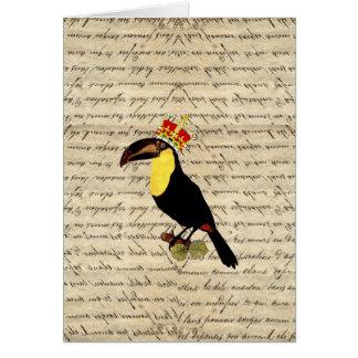 Lustiges Vintages toucan u. Krone Karte
