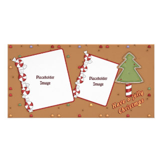 Lustiges Weihnachten - Baum und Süßigkeit Fotokartenvorlagen