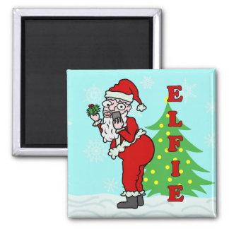 Lustiges Weihnachten Sankt Elfie Quadratischer Magnet