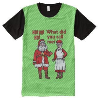 Lustiges Weihnachten Weihnachtsmann u. Frau T-Shirt Mit Bedruckbarer Vorderseite