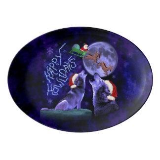 Lustiges WeihnachtenHowlidays Porzellan Servierplatte