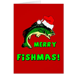 Lustiges Weihnachtsfischen Grußkarte