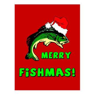 Lustiges Weihnachtsfischen Postkarte