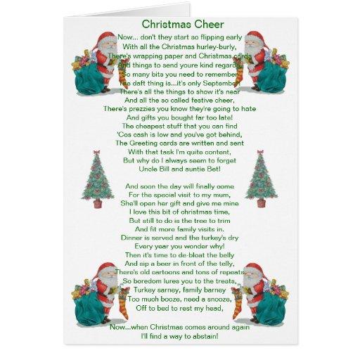 lustiges Weihnachtsgedicht Sankt und Karte