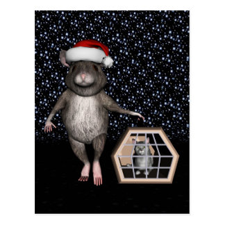 Lustiges Weihnachtsmann-Katzen-Silber Mau Postkarte