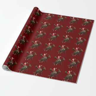 Lustiges Weihnachtsmann-Reiten auf Parasaurolophus Geschenkpapier