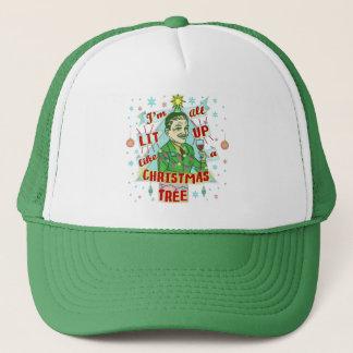 Lustiges WeihnachtsRetro trinkender Spaß-Mann-Lit Truckerkappe