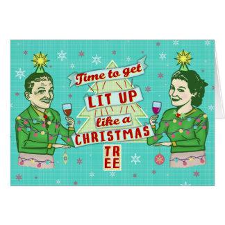 Lustiges WeihnachtsRetro trinkender Spaß-Paar-Lit Karte