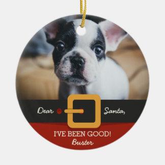 Lustiges Weihnachtssankt-HundeFoto und Keramik Ornament