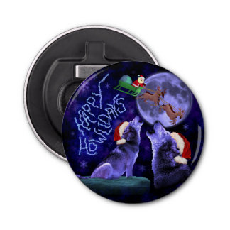 Lustiges Weihnachtswolf-Wortspiel glücklicher Flaschenöffner