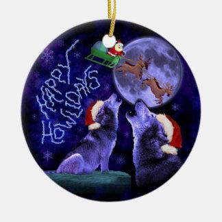 Lustiges Weihnachtswolf-Wortspiel glücklicher Keramik Ornament