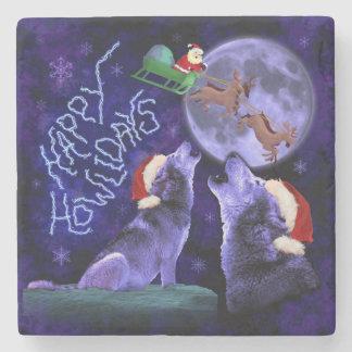 Lustiges Weihnachtswolf-Wortspiel glücklicher Steinuntersetzer