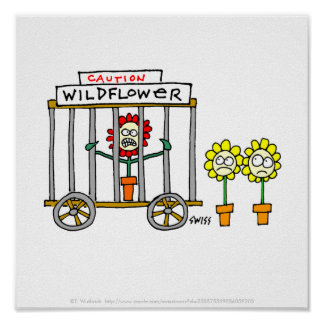 Lustiges Wildblume-Cartoon-Plakat Poster