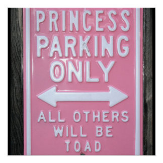 Lustiges Zeichen Prinzessin Parking Only Poster