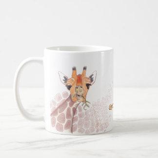 Lustiges Zeichnen einer Giraffe, die einen Kaffeetasse