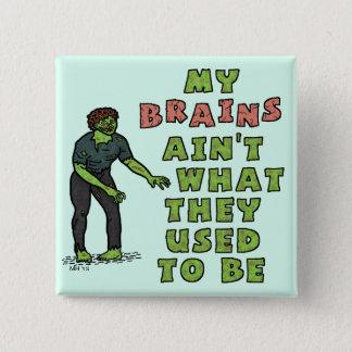 Lustiges Zombie-Gehirn-hohes Alter Quadratischer Button 5,1 Cm