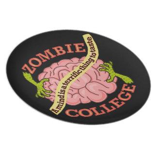 Lustiges Zombie-Uni-Logo Teller