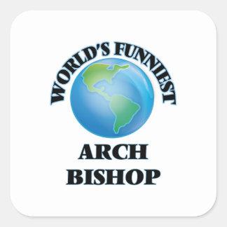 Lustigster der Bogen-Bischof der Welt Quadratischer Aufkleber
