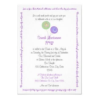 Lutscher-Zickzack-Schläger Mitzvah Lavendel 12,7 X 17,8 Cm Einladungskarte
