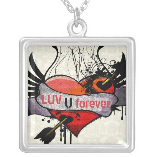 Luv U für immer Halsketten-gotischer Schmutz Halskette Mit Quadratischem Anhänger