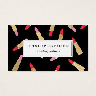 Luxe bezauberndes Lippenstift-Muster auf schwarzem Visitenkarten