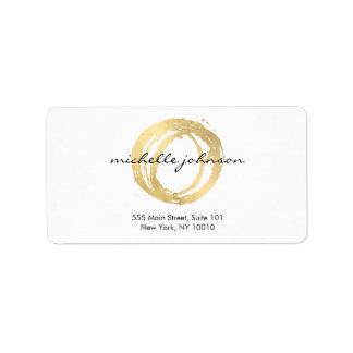 Luxe Imitat-Gold gemaltes Kreis-Designer-Logo Adressaufkleber