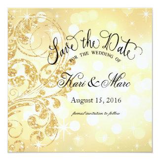Luxe Save the Date | Champagner des Quadratische 13,3 Cm Einladungskarte