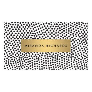 Luxe schwarze Confetti-Punkte mit GoldBar Visitenkarten