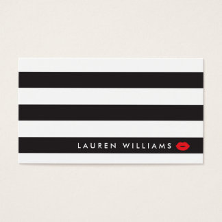 Luxe Schwarzes/Weiß Stripes roten Visitenkarte