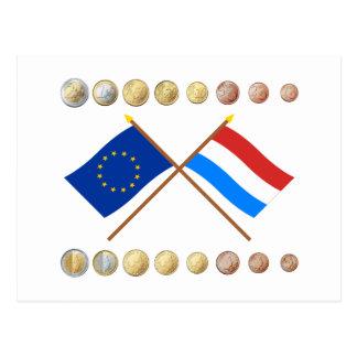 Luxemburger Euros und EU- u. Luxemburg-Flaggen Postkarte