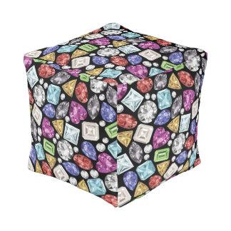 Luxuriöses buntes Diamant-Muster Kubus Sitzpuff
