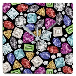 Luxuriöses buntes Diamant-Muster Quadratische Wanduhr
