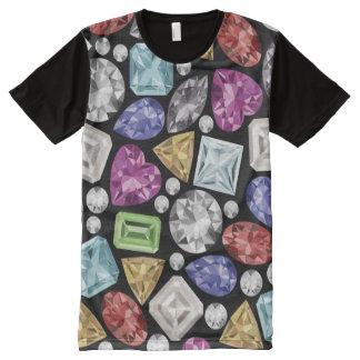 Luxuriöses buntes Diamant-Muster T-Shirt Mit Bedruckbarer Vorderseite