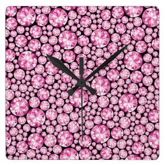 Luxuriöses rosa Diamant-Muster Quadratische Wanduhr