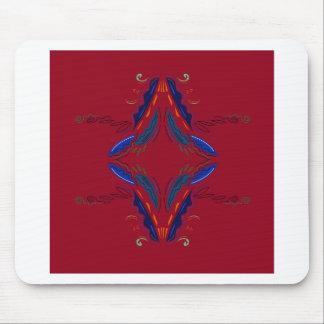 Luxus verziert blaues Rot Mousepad