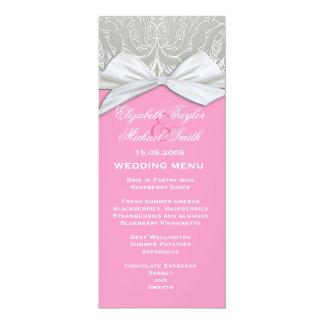 Luxusband-Silber/rosa Damast-Hochzeits-Menü 10,2 X 23,5 Cm Einladungskarte