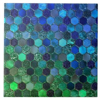 Luxusbienenwabe des metallfolien-Glitter-blauen Fliese