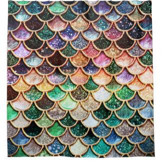 LuxusGlitter-Meerjungfrau-Skalen - Mehrfarben Duschvorhang