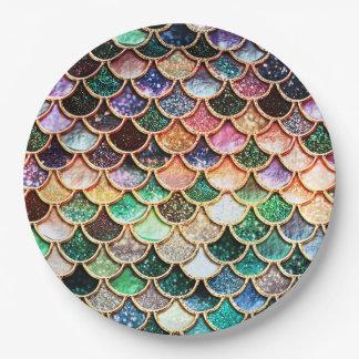 LuxusGlitter-Meerjungfrau-Skalen - Mehrfarben Pappteller