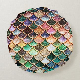 LuxusGlitter-Meerjungfrau-Skalen - Mehrfarben Rundes Kissen