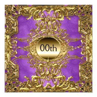 Luxusgold lila irgendein Geburtstags-Party Quadratische 13,3 Cm Einladungskarte