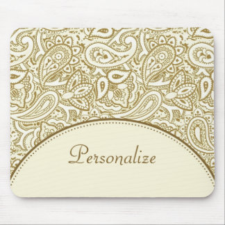 Luxusgold-und Elfenbein-Paisley-Damast mit Namen Mousepads