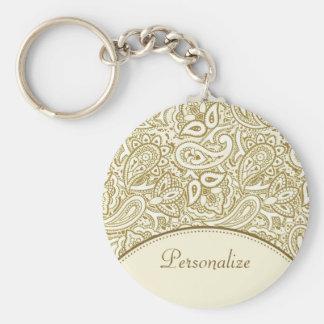 Luxusgold-und Elfenbein-Paisley-Damast mit Namen Standard Runder Schlüsselanhänger