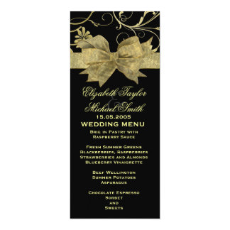 Luxusgoldband-Damast-Schwarz-Hochzeits-Menü 10,2 X 23,5 Cm Einladungskarte