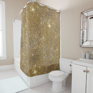 LuxusgoldGlitter - Druckbild Duschvorhang