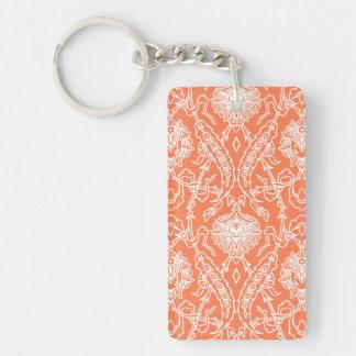 Luxuskoralle und weißes Damast-Muster dekorativ Schlüsselanhänger