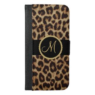 Luxusleopard-Stellen mit Monogramm Bling iPhone 6/6s Plus Geldbeutel Hülle